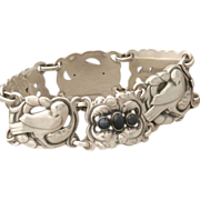 Georg Jensen 830 Silver Bird Bracelet with Labradorite No. 14