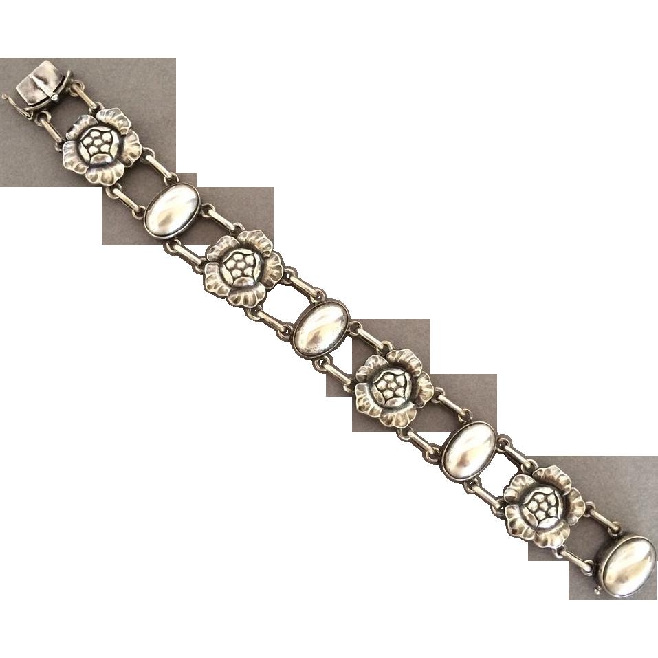 "Georg Jensen Sterling Silver ""Blossom"" Bracelet No. 12"