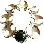 Georg Jensen Sterling Silver Bracelet With Jadeite Cabochon No. 130 by Henning Koppel