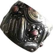 Unique Repousse 900 Silver Cuff with Rhodonite Cabochons Circa 1920's