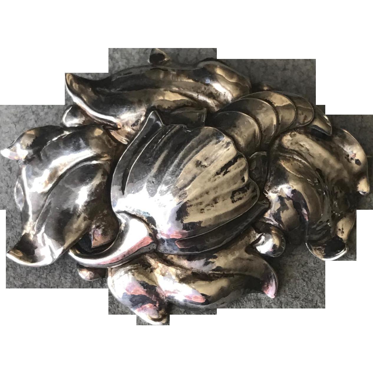 "Peer Smed Sterling Silver ""Cornucopia"" Brooch"