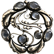 "Georg Jensen Sterling Silver ""Moonlight"" Brooch No. 159 with Moonstones"