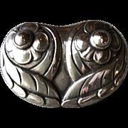 """Georg Jensen Early 830 Silver """"Owl""""  Brooch No 44"""