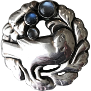 Georg Jensen 830 Silver Bird Brooch No. 134 With Moonstones