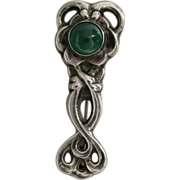 Georg Jensen Sterling Silver Brooch with Chrysoprase Cabochon No. 72