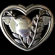 Georg Jensen Heart And Bird Brooch No. 239