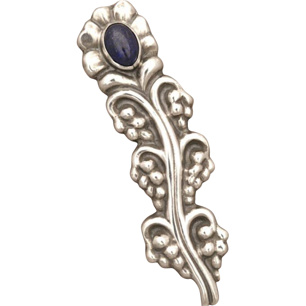 Georg Jensen 830 Silver Rare Brooch with Lapis Lazuli No. 104