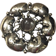 Mary Gage Sterling Silver Brooch with Glass Cabochon