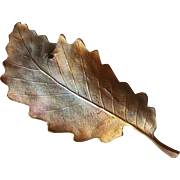John Iversen Patinated Bronze Leaf Brooch