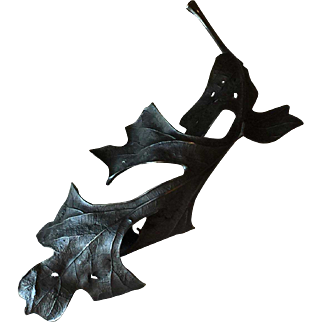 John Iversen Blackened Sterling Silver Leaf Brooch, Large