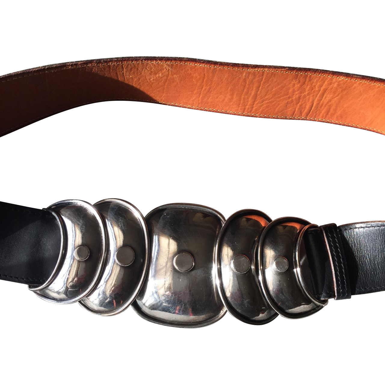 """Hector Aguilar 940 Silver """"Armadillo"""" Belt Buckle with Custom Leather Belt by Hermes"""
