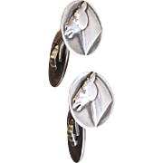Georg Jensen Sterling Silver Cufflinks with Horses No. 63 by Arno Malinowski