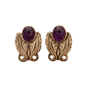 Georg Jensen Sterling Silver Earrings with Amethyst No. 108