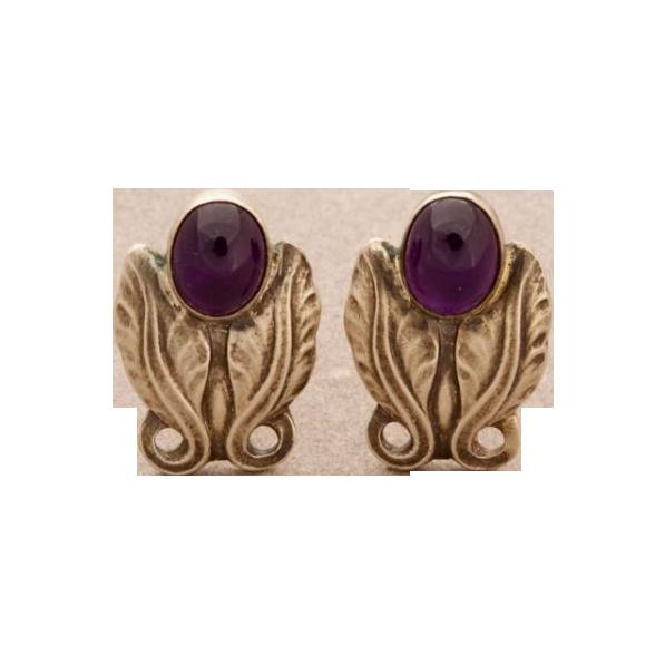Georg Jensen Sterling Silver Earrings with Amethyst No. 108