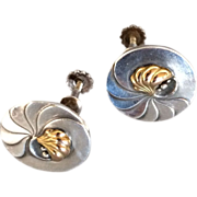 "Georg Jensen Sterling Silver ""Nautilus"" Earrings with 18K Gold Center No. 96"