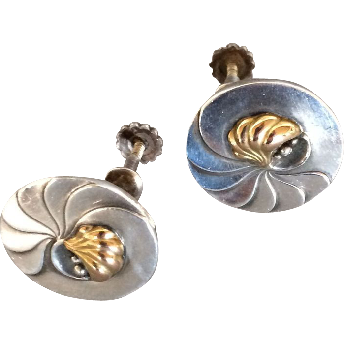 """Georg Jensen Sterling Silver """"Nautilus"""" Earrings with 18K Gold Center No. 96"""