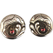 "Georg Jensen Sterling Silver ""Fish"" Earrings with Garnet No. 63A"