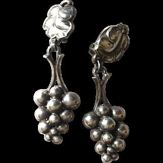 Georg Jensen Sterling Silver Grape Dangle Earrings No. 40 by Harald Nielsen
