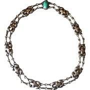 Georg Jensen 830 Silver Necklace, No. 2 With Amazonite Cabuchon