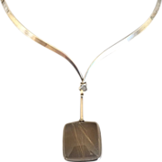 Georg Jensen Sterling Silver Neck Ring No. 169 With Rutilated Quartz Drop No. 132 By Vivianna Torun