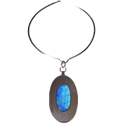Kaunis Koru Sterling Silver Pendant with Labradorite on Sterling Silver Neckring by Olavi L. Wehmersuo