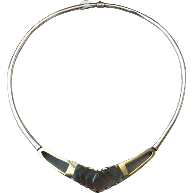 Roberto Laender Sterling Silver and 18kt Gold Neckring with Smoky Quartz