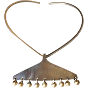 Hans Hansen Sterling Silver with Gold Pendant No. 366 by Bent Gabrielsen on Sterling Silver Neck Ring