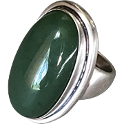 Georg Jensen Ring No 46E With Jadeite By Harald Nielsen