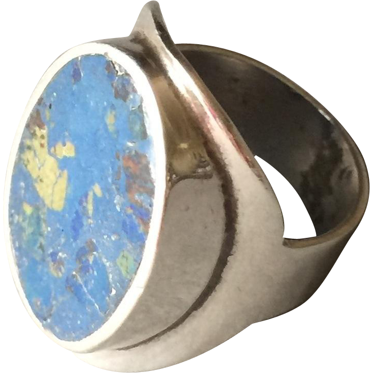 Los Ballisteros Sterling Silver Modernist Ring with Azurite