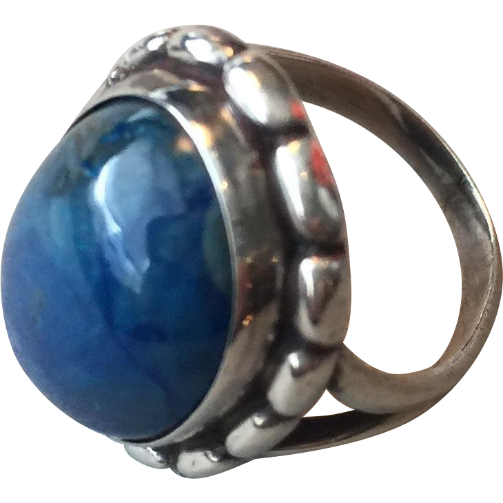 Georg Jensen Sterling Silver Ring No. 19 with Lapis Lazuli