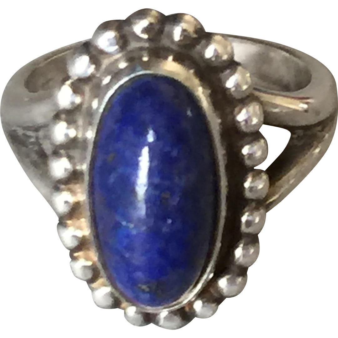 Georg Jensen Sterling Silver Ring No. 9 with Lapis Lazuli