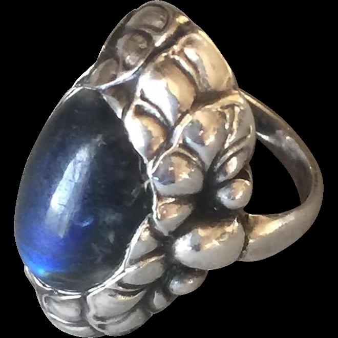 Georg Jensen Sterling Silver Ring No. 11 with Labradorite