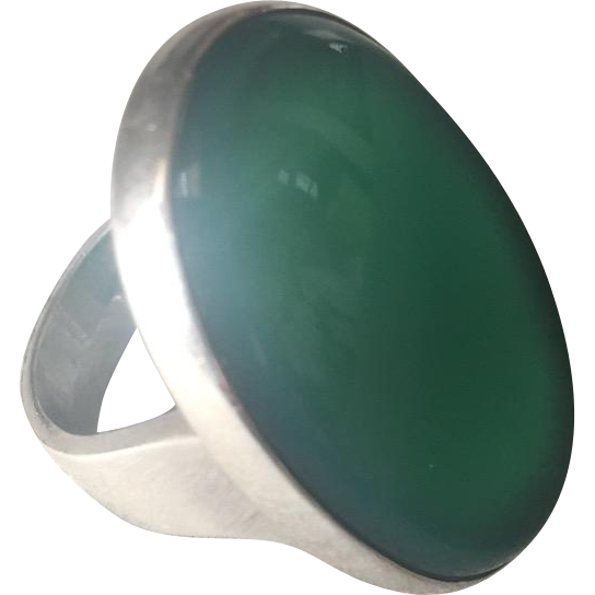 Georg Jensen Modernist Sterling Silver Ring No. 90A with Chrysoprase