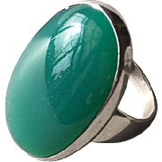 Georg Jensen Modernist Sterling Silver Ring No. 90B With Jadeite
