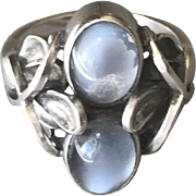 Georg Jensen Sterling Silver Ring No 48 With Moonstone By Henry Pilstrup.