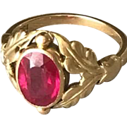Georg Jensen 18k Gold Ring With Synthetic Ruby No. 208