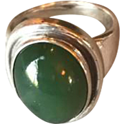 Georg Jensen Sterling Silver Jade Ring No. 46A By Harald Nielson