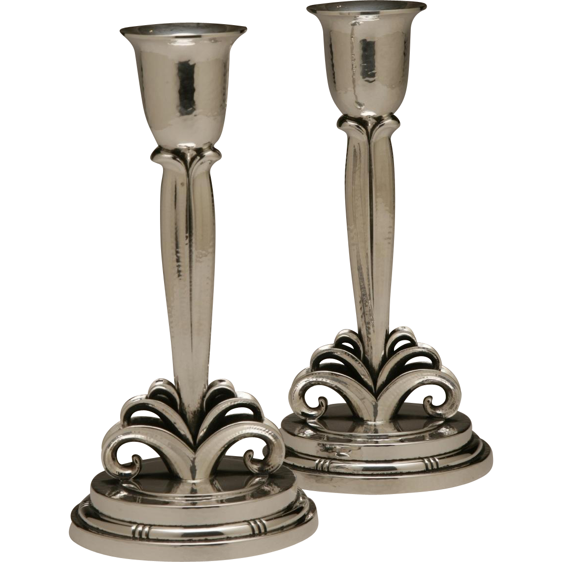 Evald Nielsen Sterling Silver Pair of Art Deco Candlesticks
