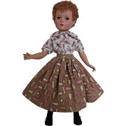 Vintage skirt and blouse for large 1950's dolls