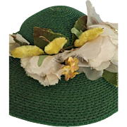 Green vintage hat for fashion or antique doll