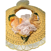 Yellow open crown Hat and purse Cissy