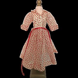 Cissy red polka dot organdy dress