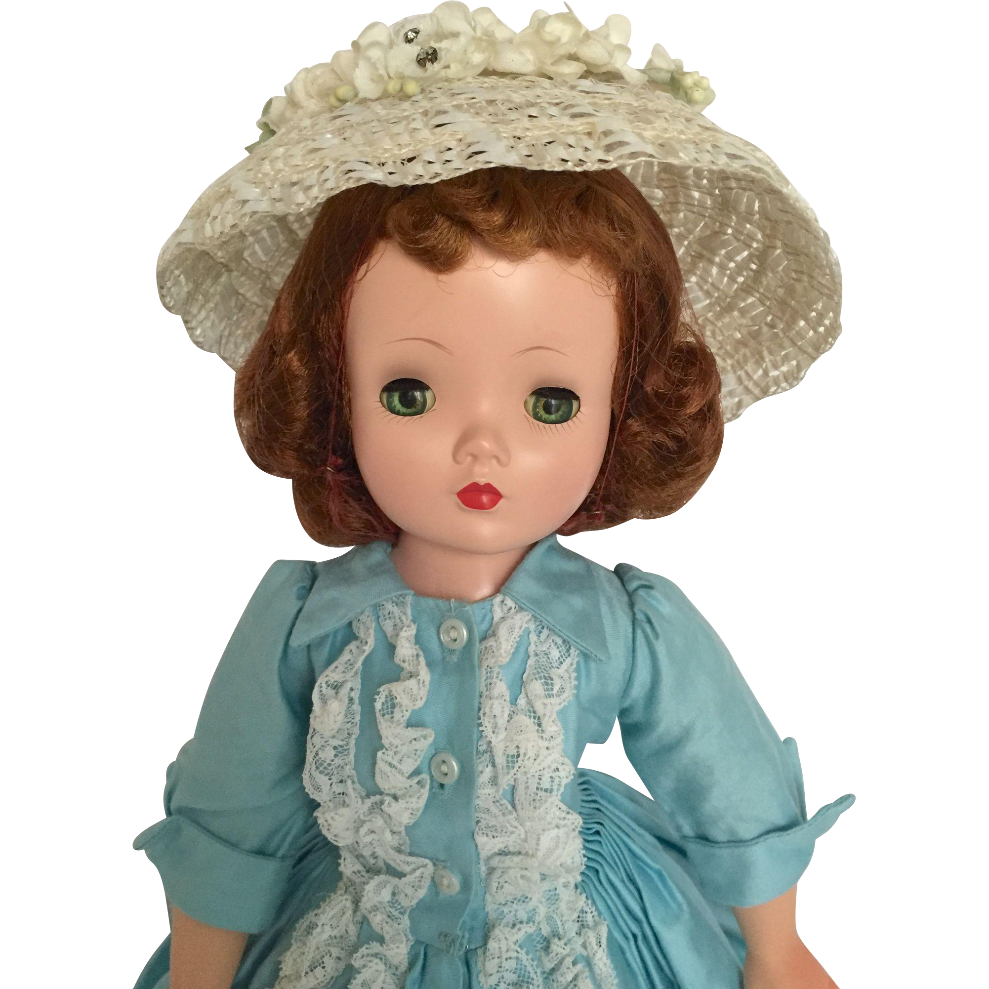Pretty auburn Cissy in mint daydress