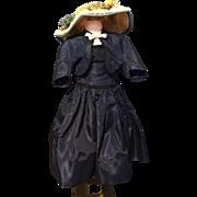 Cissy navy taffeta with hat