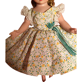 Tagged yellow floral dress and hat for Cissette