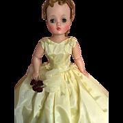 "Yellow vintage taffeta gown for 20"" slim doll or Cissy"