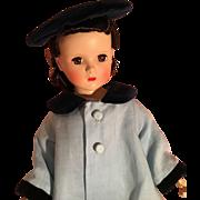 "Pretty vintage  linen and velvet hat and coat set for 18-20"" doll"
