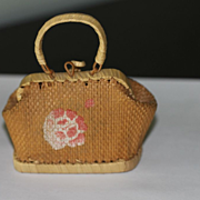 Antique French Fashion Straw Valise, Purse