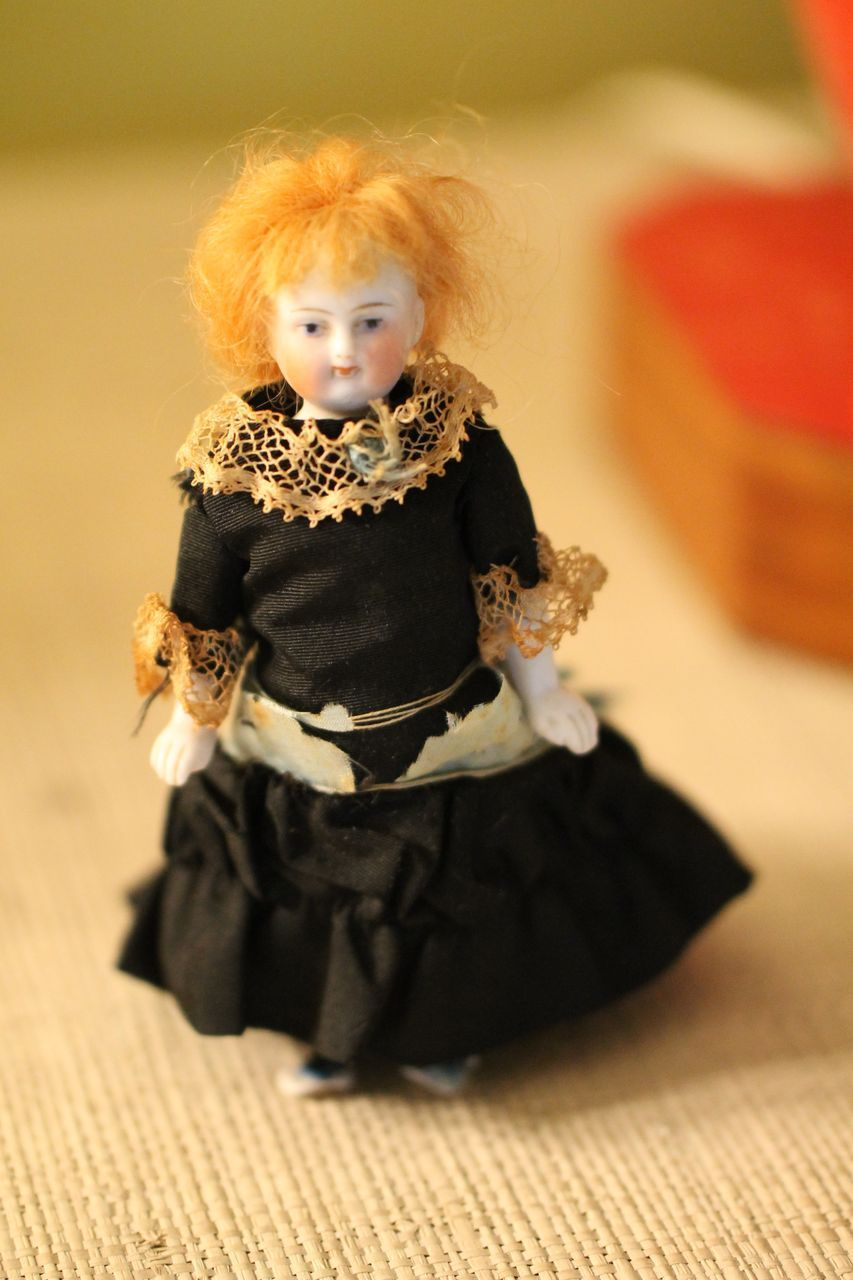 1860s 4 1/2 in.   Antique Dollhouse Doll House Parian Blue Boots