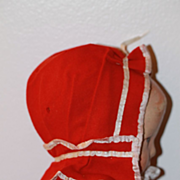 Antique Red Doll Bonnet for Cloth, China, Bisque Doll